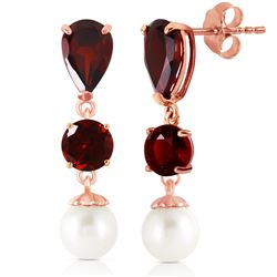 Genuine 10.50 ctw Garnet & Pearl Earrings Jewelry 14KT Rose Gold - REF-40M9T