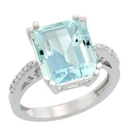 Natural 5.48 ctw Aquamarine & Diamond Engagement Ring 14K White Gold - REF-83R8Z