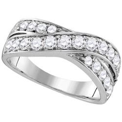 1 CTW Diamond Double Row Crossover Ring 14KT White Gold - REF-94N4F