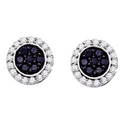 1 CTW Black Color Diamond Circle Cluster Earrings 10KT White Gold - REF-44K9W