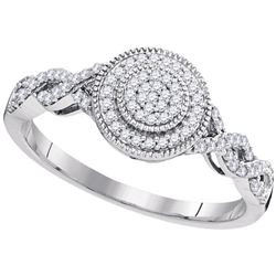 0.20 CTW Diamond Milgrain Circle Cluster Ring 10KT White Gold - REF-22Y4X