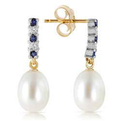 Genuine 8.3 ctw Sapphire, Pearl & Diamond Earrings Jewelry 14KT Yellow Gold - REF-28Z8N