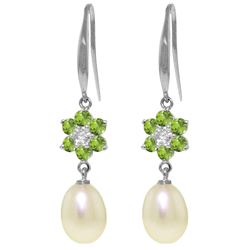 Genuine 9.01 ctw Peridot, Pearl & Diamond Earrings Jewelry 14KT White Gold - REF-44V3W