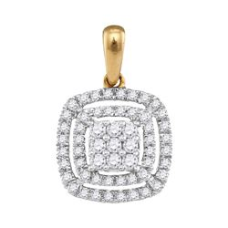 0.33 CTW Diamond Square Cluster Pendant 14KT Yellow Gold - REF-37N5F