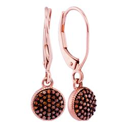 0.20 CTW Red Color Diamond Cluster Dangle Earrings 10KT Rose Gold - REF-25Y4X