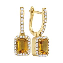 1.36 CTW Natural Citrine Diamond Rectangle Dangle Earrings 14KT Yellow Gold - REF-76X4Y