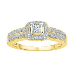 0.25 CTW Diamond Solitaire Double Row Milgrain Bridal Ring 10KT Yellow Gold - REF-30N2F