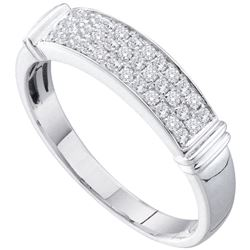 0.29 CTW Diamond Triple Row Ring 14KT White Gold - REF-41W9K