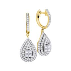 1.1 CTW Princess Diamond Teardrop Cluster Earrings 14KT Yellow Gold - REF-134N9F