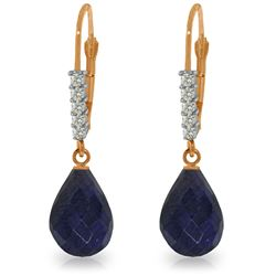 Genuine 17.75 ctw Sapphire & Diamond Earrings Jewelry 14KT Rose Gold - REF-41H6X