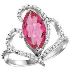 Natural 3.33 ctw Pink-topaz & Diamond Engagement Ring 14K White Gold - REF-77G5M