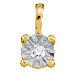 0.10 CTW Diamond Illusion-set Solitaire Pendant 10KT Yellow Gold - REF-13W4K