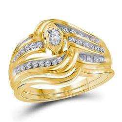 0.47 CTW Marquise Diamond Bridal Engagement Ring 14KT Yellow Gold - REF-75K2W
