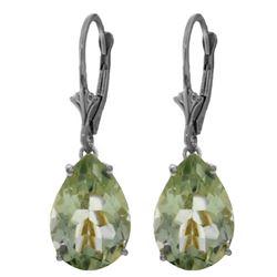Genuine 10 ctw Green Amethyst Earrings Jewelry 14KT White Gold - REF-45N3R