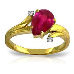 Genuine 1.51 ctw Ruby & Diamond Ring Jewelry 14KT Yellow Gold - REF-56P3H