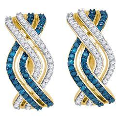 0.60 CTW Blue Color Diamond Entwined Woven Hoop Earrings 10KT Yellow Gold - REF-40K4W