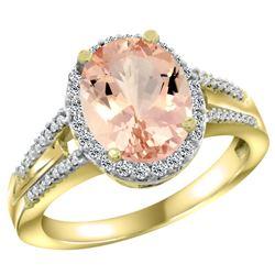 Natural 4.12 ctw morganite & Diamond Engagement Ring 14K Yellow Gold - REF-86R5Z