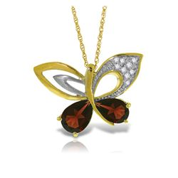 Genuine 3.68 ctw Garnet & Diamond Necklace Jewelry 14KT Yellow Gold - REF-113P9H