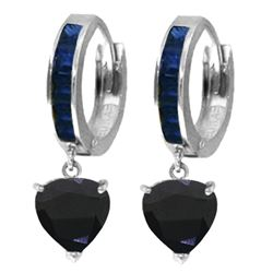 Genuine 3.95 ctw Sapphire Earrings Jewelry 14KT White Gold - REF-68M9T