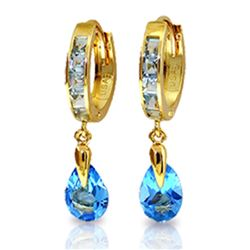 Genuine 4.2 ctw Blue Topaz Earrings Jewelry 14KT Yellow Gold - REF-51X4M