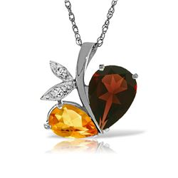 Genuine 5.06 ctw Garnet, Citrine & Diamond Necklace Jewelry 14KT White Gold - REF-61F5Z