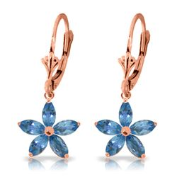 Genuine 2.8 ctw Blue Topaz Earrings Jewelry 14KT Rose Gold - REF-46Z7N
