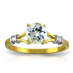 Genuine 1.02 ctw Aquamarine & Diamond Ring Jewelry 14KT Yellow Gold - REF-31X2M