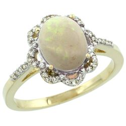 Natural 1.15 ctw Opal & Diamond Engagement Ring 10K Yellow Gold - REF-29N3G