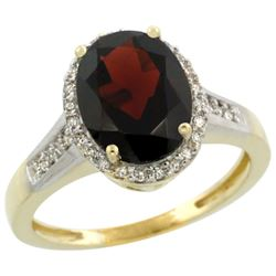 Natural 2.49 ctw Garnet & Diamond Engagement Ring 14K Yellow Gold - REF-45W3K
