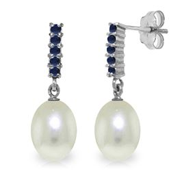 Genuine 8.4 ctw Pearl & Sapphire Earrings Jewelry 14KT White Gold - REF-25Z6N