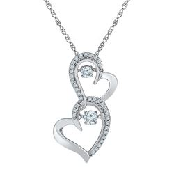 0.25 CTW Diamond Solitaire Double Heart Pendant 10KT White Gold - REF-30K2W