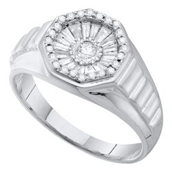 0.50 CTW Mens Diamond Concave Cluster Ribbed Ring 14KT White Gold - REF-67W4K