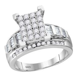 0.50 CTW Diamond Cluster Bridal Engagement Ring 10KT White Gold - REF-41M2H