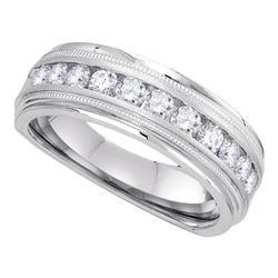 1 CTW Mens Diamond Wedding Ring 10KT White Gold - REF-119M9H