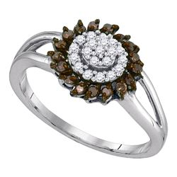 0.25 CTW Cognac-brown Color Diamond Flower Cluster Ring 10KT White Gold - REF-16W4K