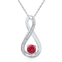0.61 CTW Created Ruby Diamond Fashion Pendant 10KT White Gold - REF-13F4N
