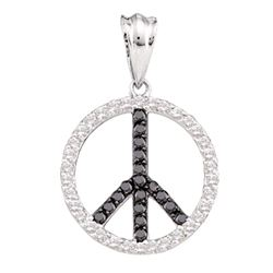 0.78 CTW Black Color Diamond Peace Sign Circle Pendant 14KT White Gold - REF-49N5F