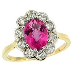 Natural 2.34 ctw Pink-topaz & Diamond Engagement Ring 14K Yellow Gold - REF-81M4H