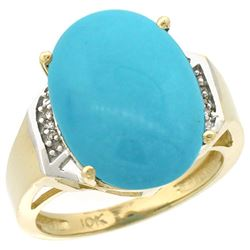 Natural 11.02 ctw Turquoise & Diamond Engagement Ring 14K Yellow Gold - REF-94M5H