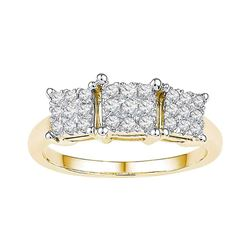 0.29 CTW Diamond Triple Cluster Bridal Engagement Ring 10KT Yellow Gold - REF-40H4M