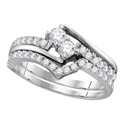 0.74 CTW 2-Stone Diamond Hearts Together Bridal Ring 14KT White Gold - REF-71F3N
