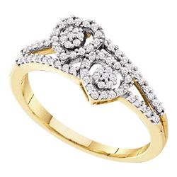 0.25 CTW Diamond Double Heart Cluster Ring 10KT Yellow Gold - REF-24Y2X
