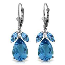 Genuine 13 ctw Blue Topaz Earrings Jewelry 14KT White Gold - REF-61A2K