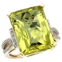 Natural 12.14 ctw Lemon-quartz & Diamond Engagement Ring 10K Yellow Gold - REF-49N2G