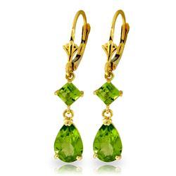 Genuine 4.5 ctw Peridot Earrings Jewelry 14KT Yellow Gold - REF-41Z4N