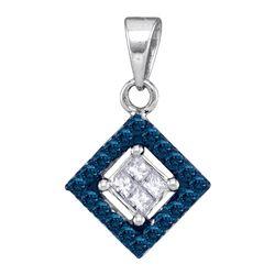 0.30 CTW Blue Color Diamond Diagonal Square Pendant 10KT White Gold - REF-18K2W
