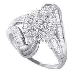 0.52 CTW Diamond Cluster Swirl Shank Ring 10KT White Gold - REF-34H4M