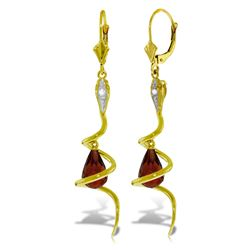 Genuine 4.56 ctw Garnet & Diamond Earrings Jewelry 14KT Yellow Gold - REF-91K4V