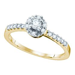 0.25 CTW Diamond Solitaire Halo Bridal Engagement Ring 10KT Yellow Gold - REF-22K4W