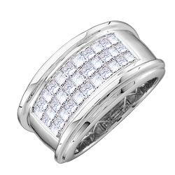 0.50 CTW Mens Princess Diamond Comfort Anniversary Ring 14KT White Gold - REF-94M4H